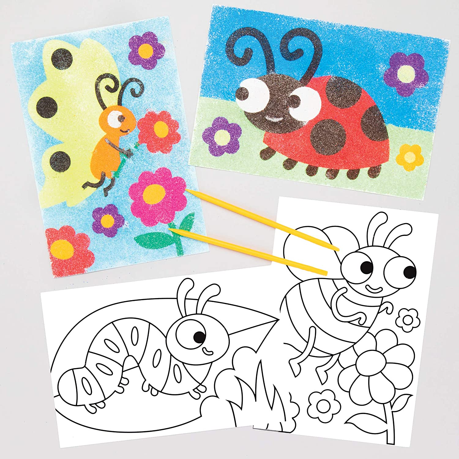 8 Pack Self Adhesive Pre-designed Images for Childrens Sand Art Baker Ross Bug Sand Art Pictures