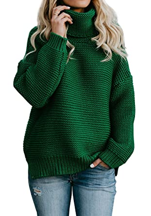 021581309c Yacooh Womens Pullover Sweaters Turtleneck Oversized Rib Knitted Long  Sleeve Warm Sweater (Small