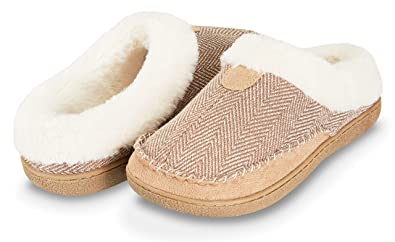 d3e7b43515b Floopi Womens Indoor Outdoor Herringbone Fur Lined Clog Slipper W Memory  Foam (S