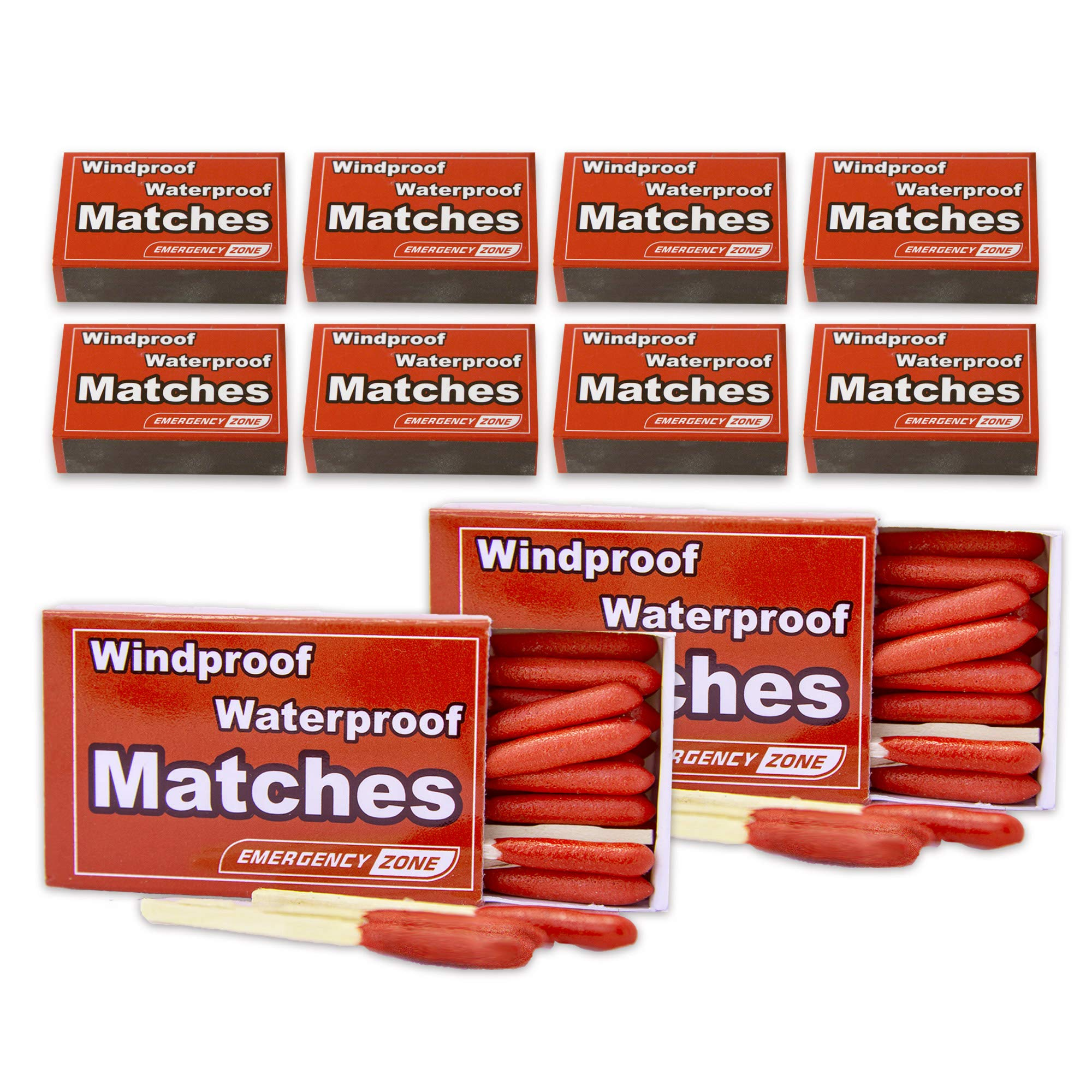Emergency Zone Matches Waterproof & Wind/Waterproof Matches. Stormproof. Bulk Options. Available in 3, 5, 10, 50, and 100 Packs (Stormproof, 10 Pack)