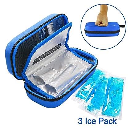 YOUSHARES Insulina Bolsa Para Viaje - Diabéticos Estuche Para Adrenalina y Otros Medicamentos y Plumas con 3 Bolsas de Gel (EVA Azul)