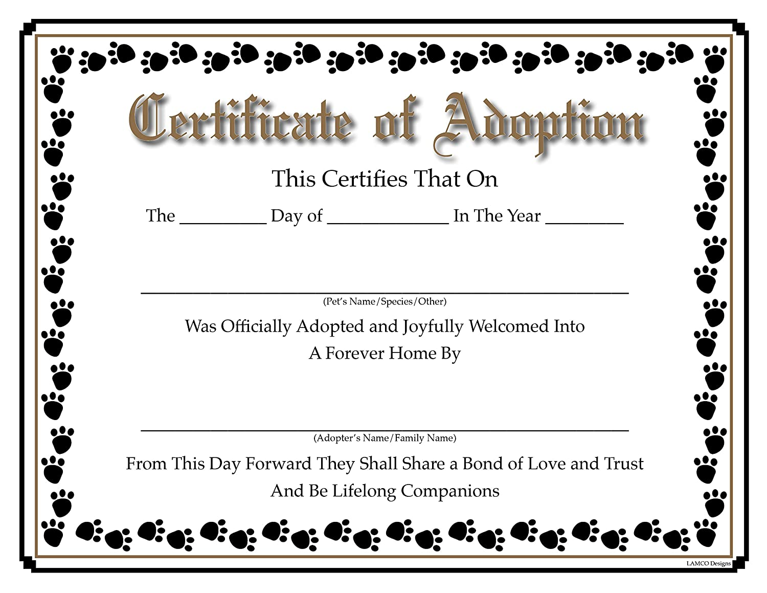 cat adoption certificate  Amazon.com : Pet Certificate of Adoption and Rescue with ...