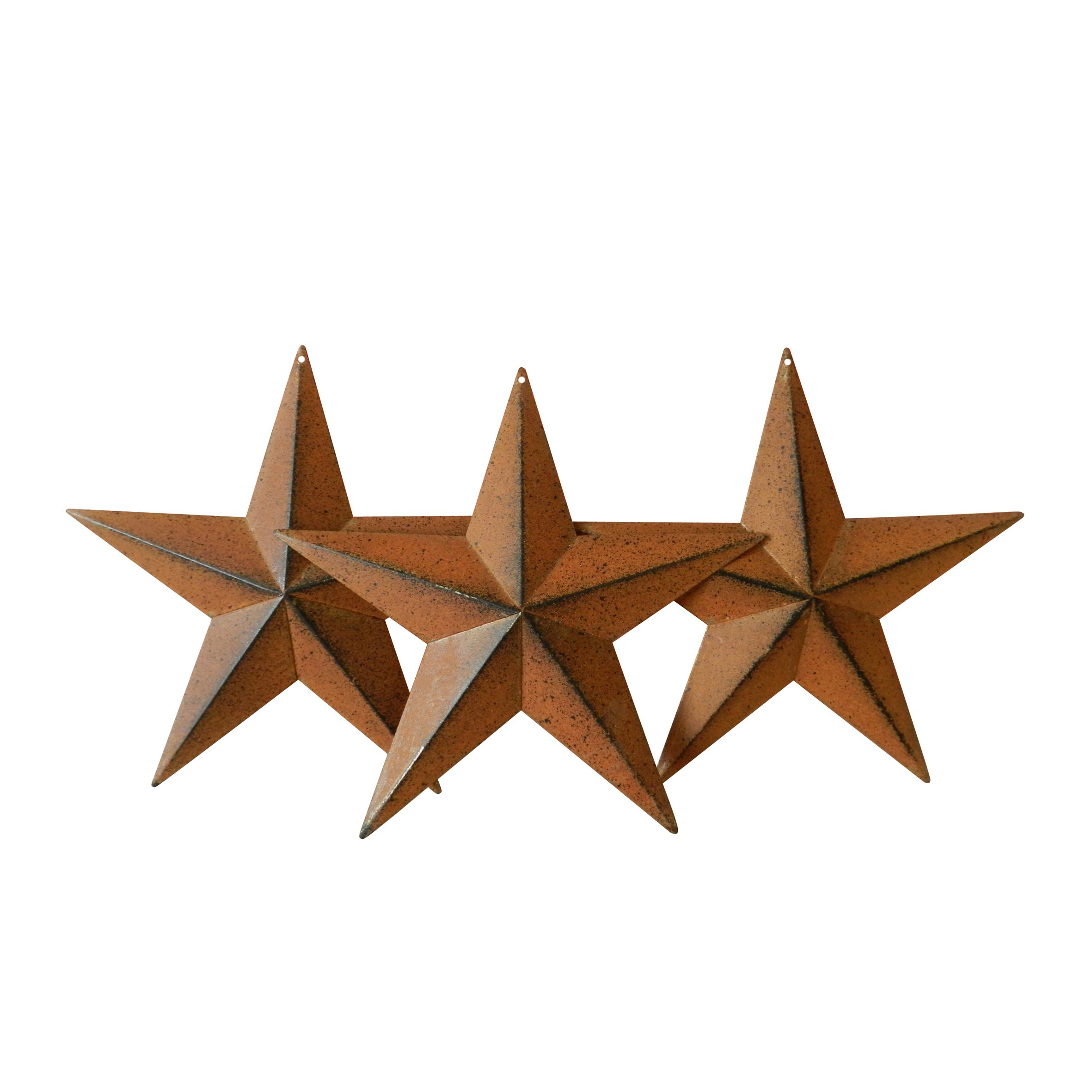 CVHOMEDECO. Country Rustic Antique Vintage Gifts Metal Barn Star Wall/Door Decor, 8-Inch, Set of 3. (Rusty)