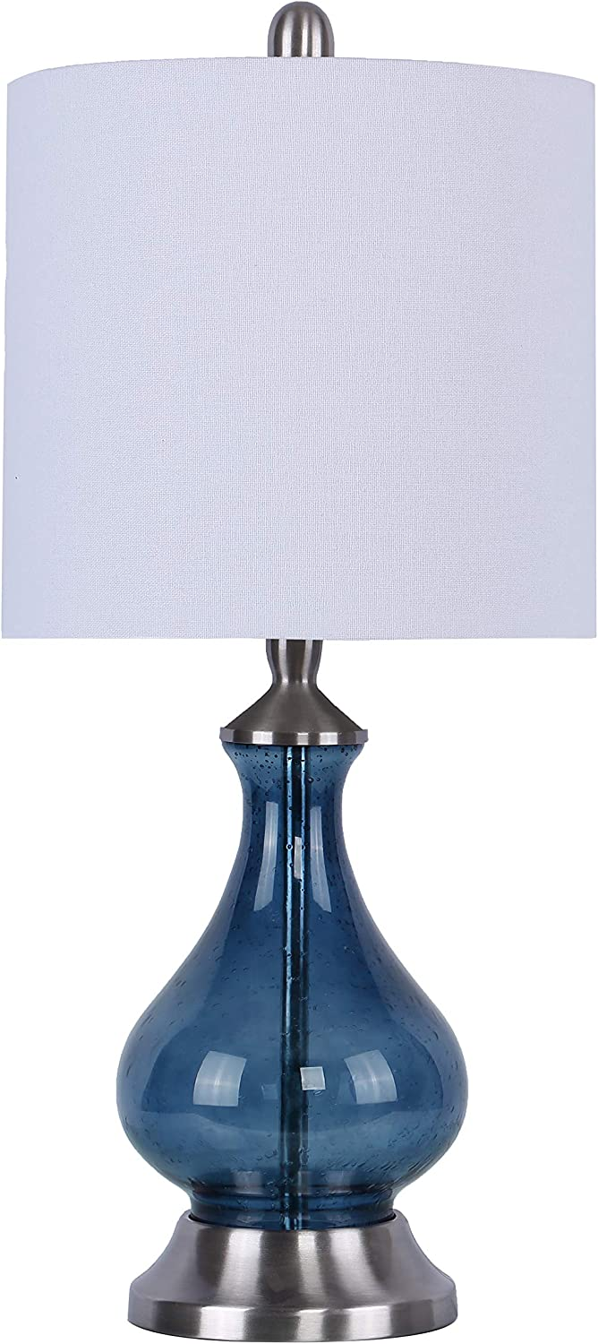"""Grandview Gallery 22"""" Sapphire Blue Seeded Glass Accent Lamp ft. Curvy Gourd Design, Brushed Nickel Details, and Off-White Linen Drum Shade - Beautiful Contemporary Lighting for Any Room"""