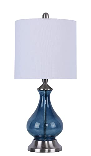 Grandview Gallery 22 Sapphire Blue Seeded Glass Accent Lamp ft. Curvy Gourd Design, Brushed Nickel Details, and Off-White Linen Drum Shade – Beautiful Contemporary Lighting for Any Room