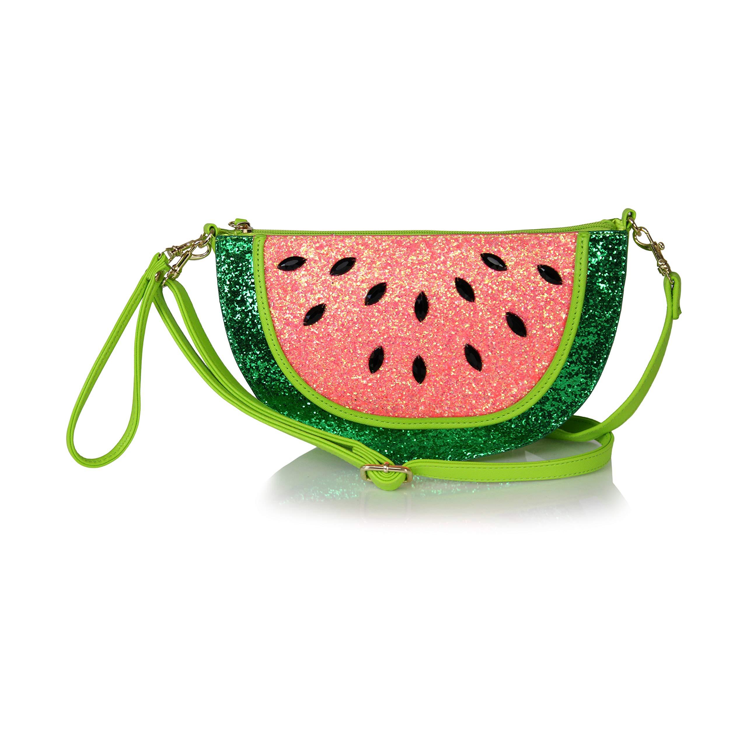 Cute Fruit Summer Shoulder Bag- Watermelon Messenger Sling Crossbody Purse or Clutch (Watermelon)