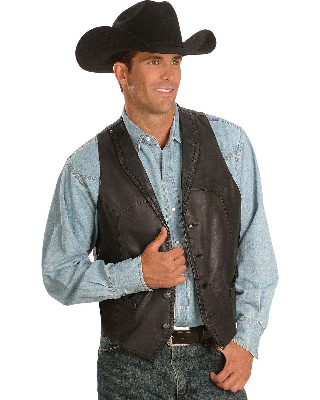 Scully Men's Whipstitch Lamb Leather Vest Black X-Large