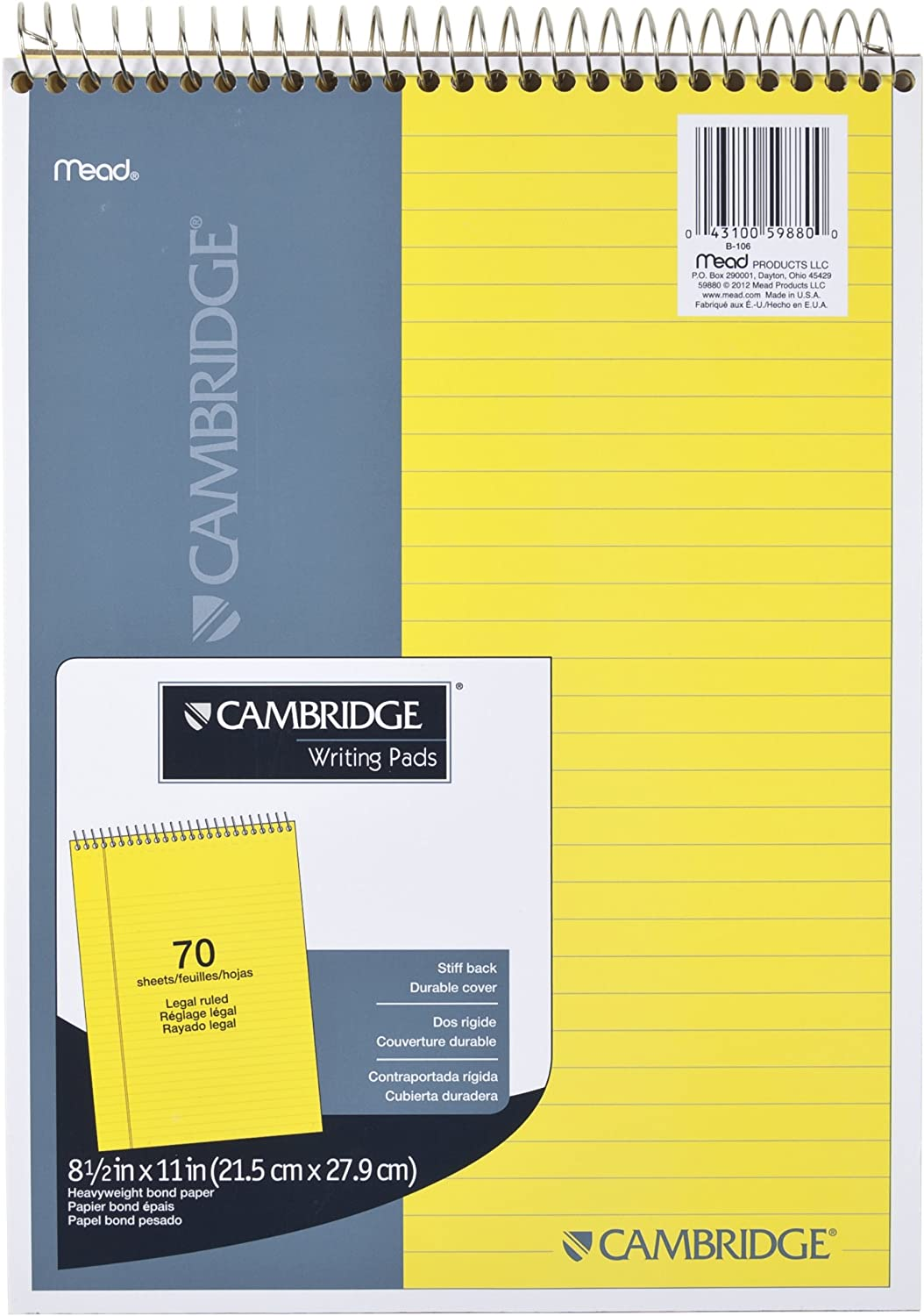 "Mead Legal Pad, Top Spiral Bound, Wide Ruled Paper, 70 Sheets, 8-1/2"" x 11"", Yellow Cyan (MEA59880)"