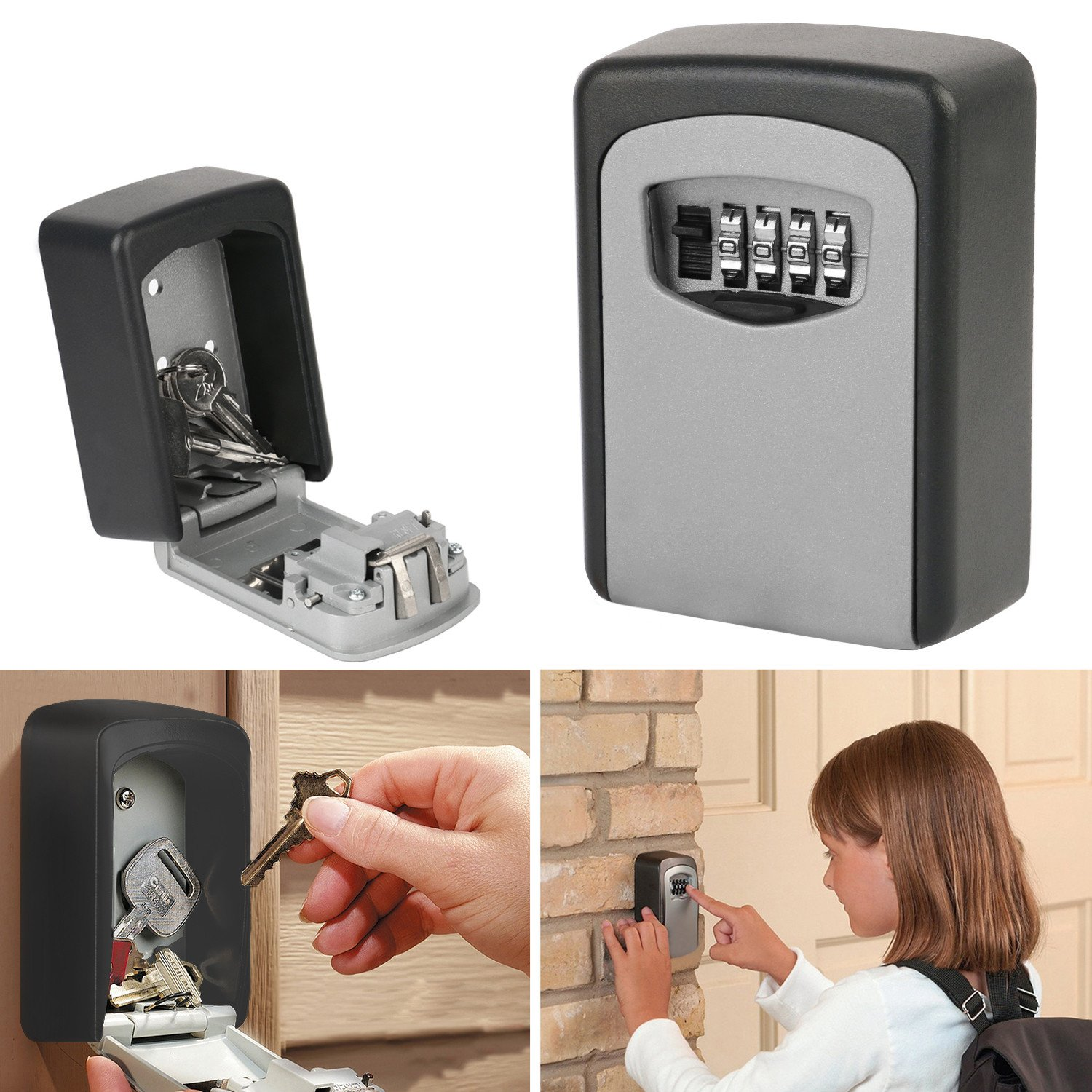 Key Lock Box OKPOW Outdoor Heavy Duty Wall Mounted Combination Key Safe Large Storage Lock Box with Strong 4 Digit Lock for Home Garage School Office Spare Keys