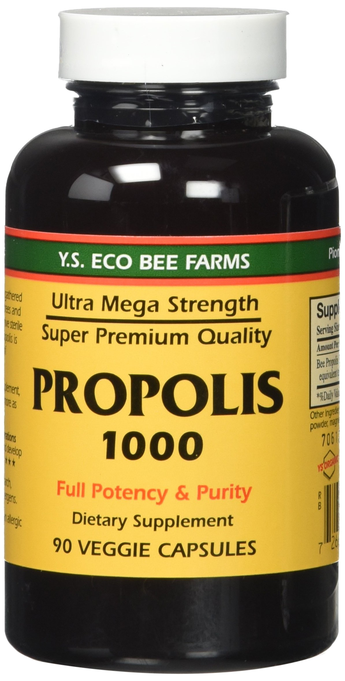Propolis-Raw Unprocessed 1000mg Y.S. Organic Bee Farms 90 Caps