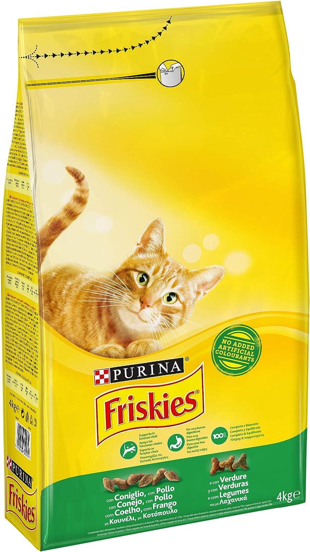 Friskies Adult Crocchette Per Il Gatto Con Coniglio Pollo E Verdure Aggiunte 4 Kg Amazon It Prodotti Per Animali Domestici