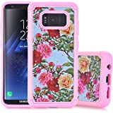 Galaxy S8 Case, S8 Case, Casesay Slim Fit [Shock Absorption] Studded Rhinestone Bling Hybrid Dual Layer Armor Defender Protective Case Cover for Samsung Galaxy S8(Flower)