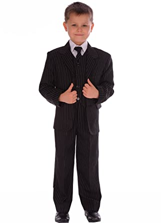 e02b8e6be 5-Piece Boys Suits Black Pinstripe Suit Wedding Formal Pageboy Usher Age  0-3 month to 14-15 years: Amazon.co.uk: Clothing