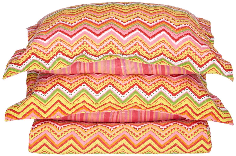 Amazon.com: Zig-Zag 100% Cotton Quilt Set, 3-Piece King, Orange ... : discount cotton quilts - Adamdwight.com