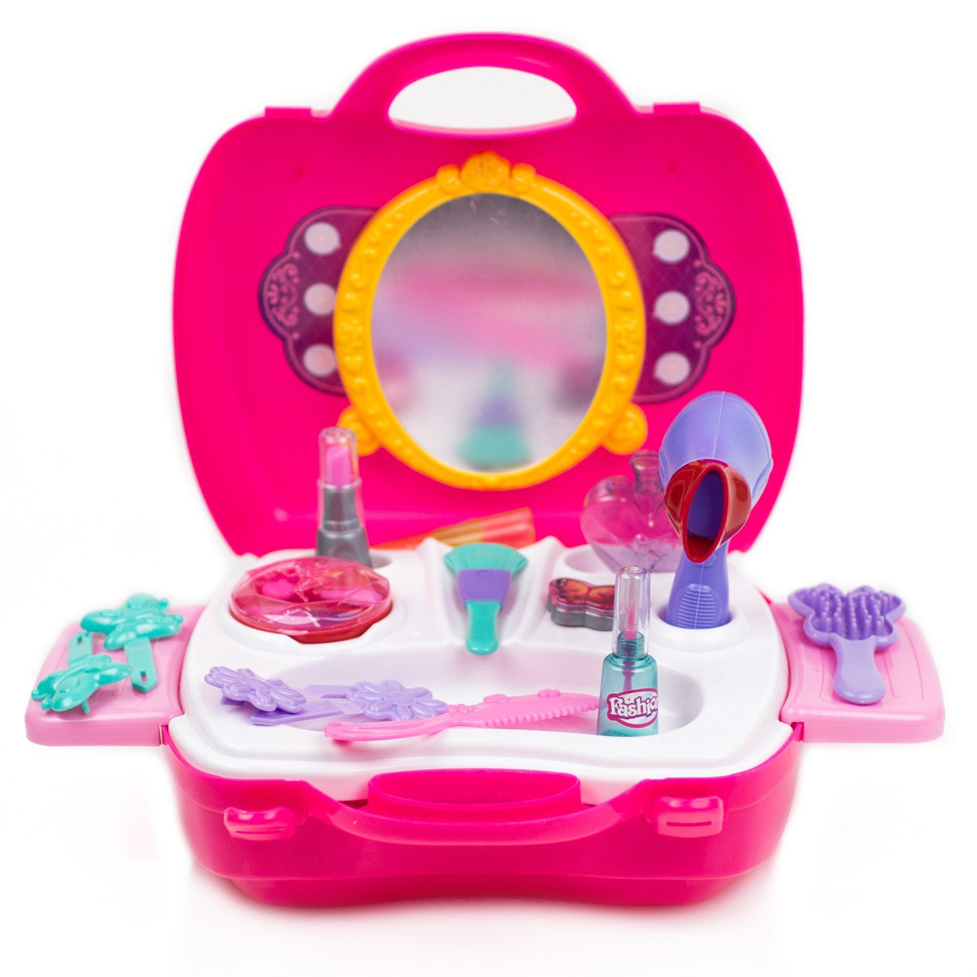 Toysery Pretend Play Cosmetic and Makeup Toy Set Kit for Little Girls & Kids Include 21 Pieces Beauty Salon Toys
