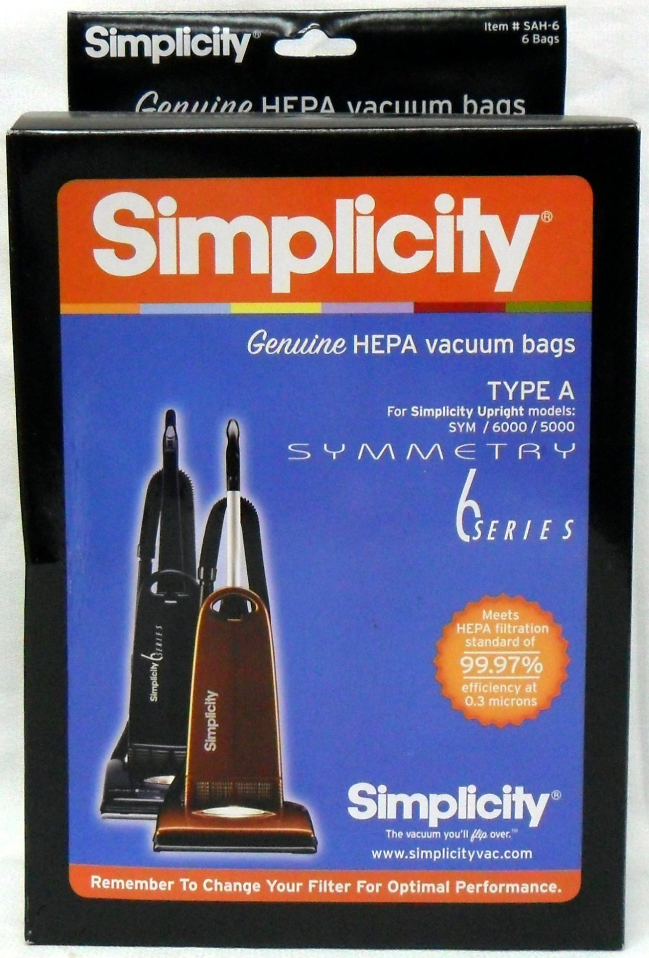 Simplicity Type A HEPA Vacuum Cleaner Bags Pack by Simplicity