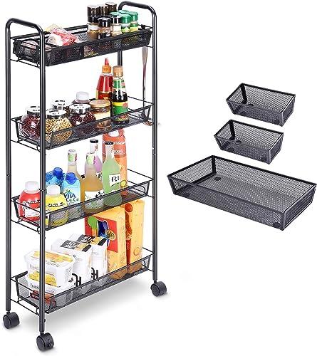 ILFALZT Rolling Utility Cart 4-Tier Gap Mesh Kitchen Cart