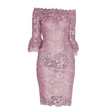 7f03d7f0983 Paper Dolls Womens Ladies Crochet Lace Bardot Dress (8 US) (Mink) at ...