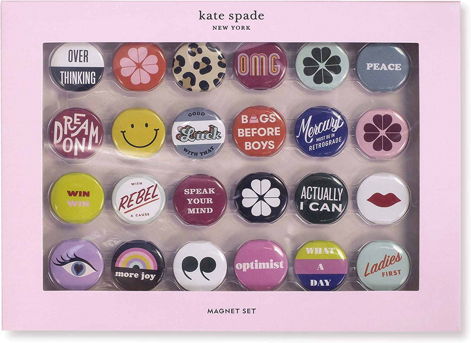 Kate Spade New York Colorful Magnet Set of 24, Cute Magnets for Office/Fridge, Actually I Can (assorted)