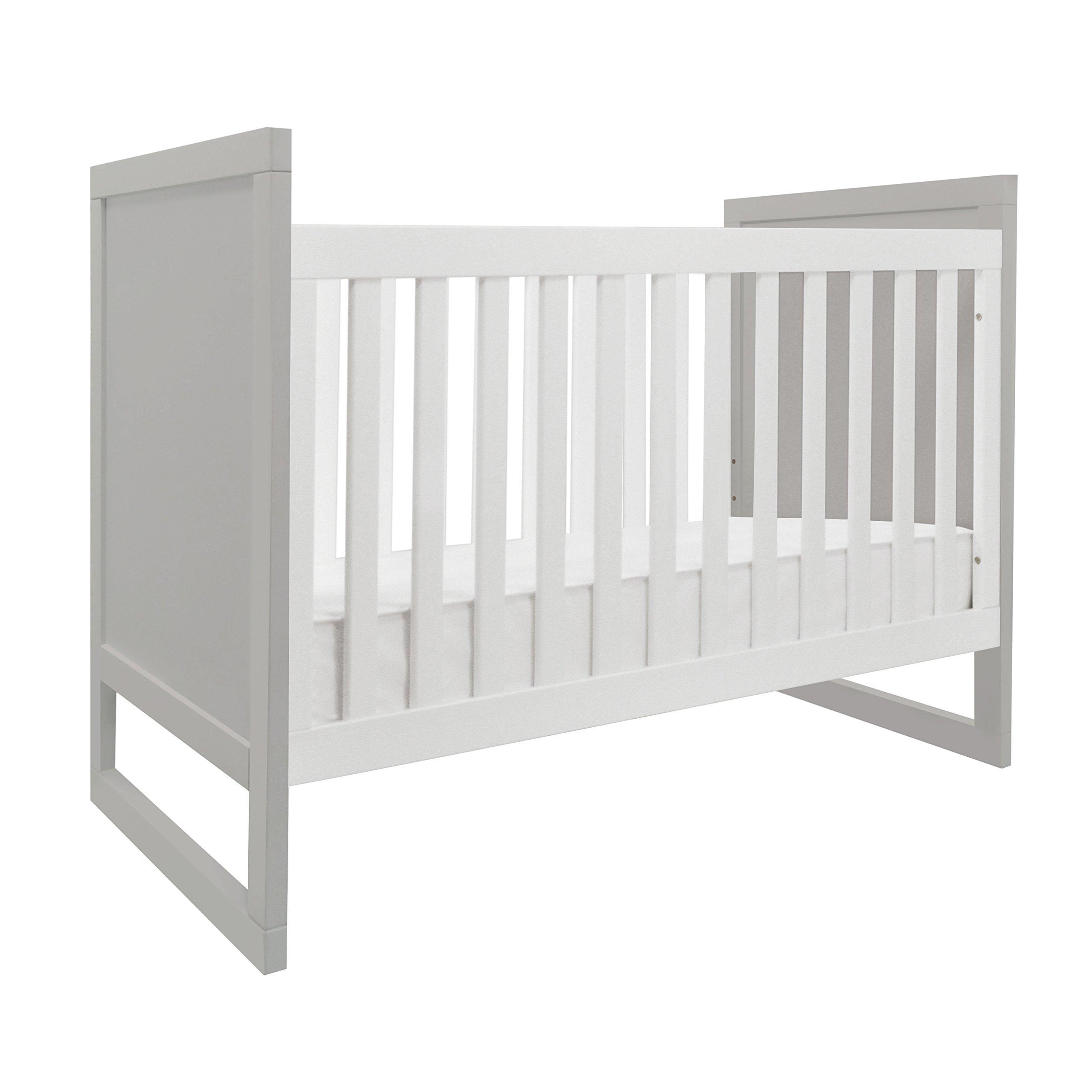 Baby Mod Modena Mod Two Tone 3-in-1 Convertible Crib, Grey/White