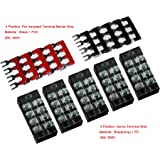 Cofufu 5 Pcs Dual Row 4 Position Screw Terminal Strip 600V 25A + 400V 25A 4 Postions Pre Insulated Terminal Barrier Strip Red/Black 10 Pcs