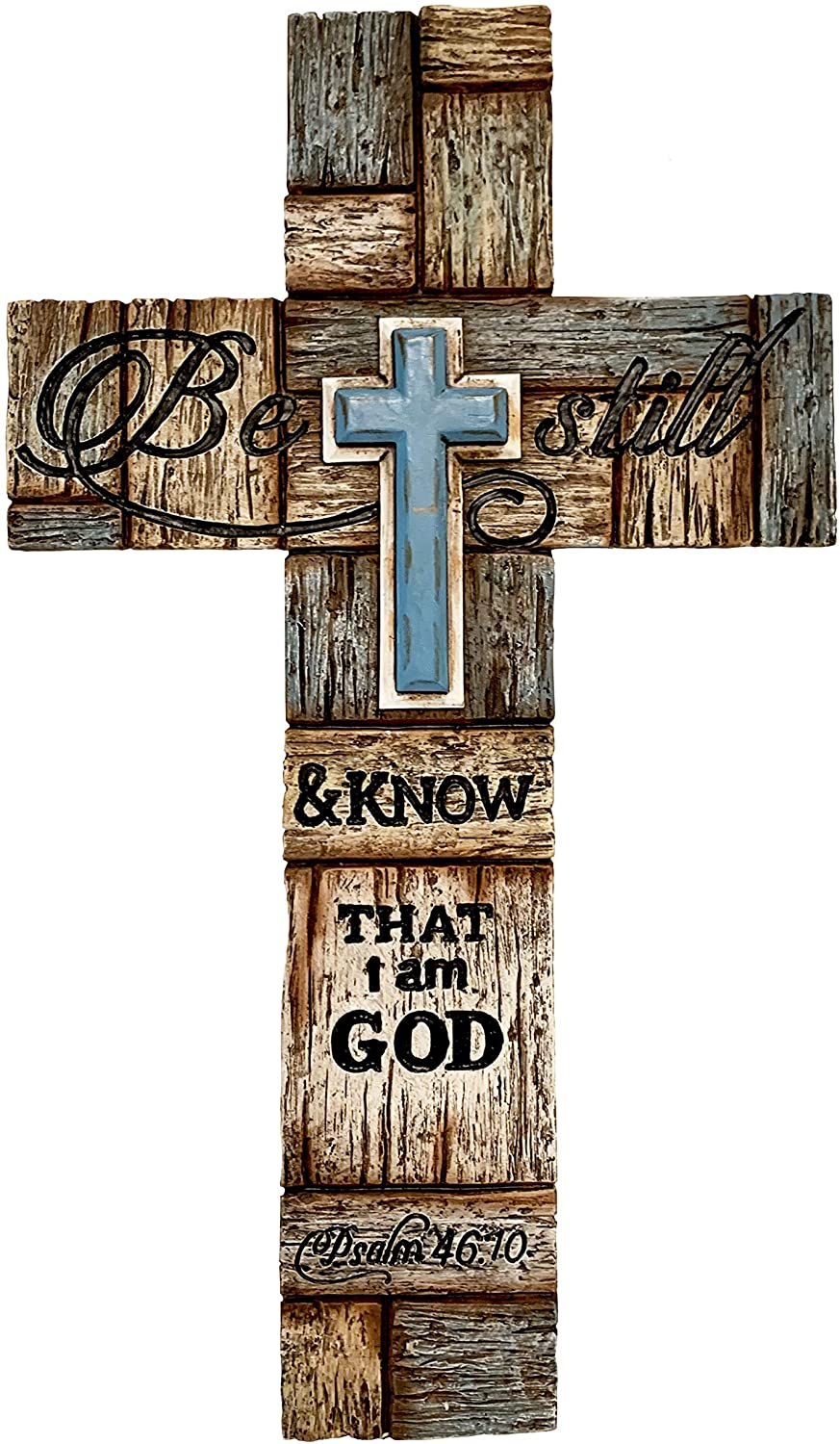 Inspirational Layered Wall Cross, Realistic Wood Texture - Be Still & Know That I am God - Psalm 46:10