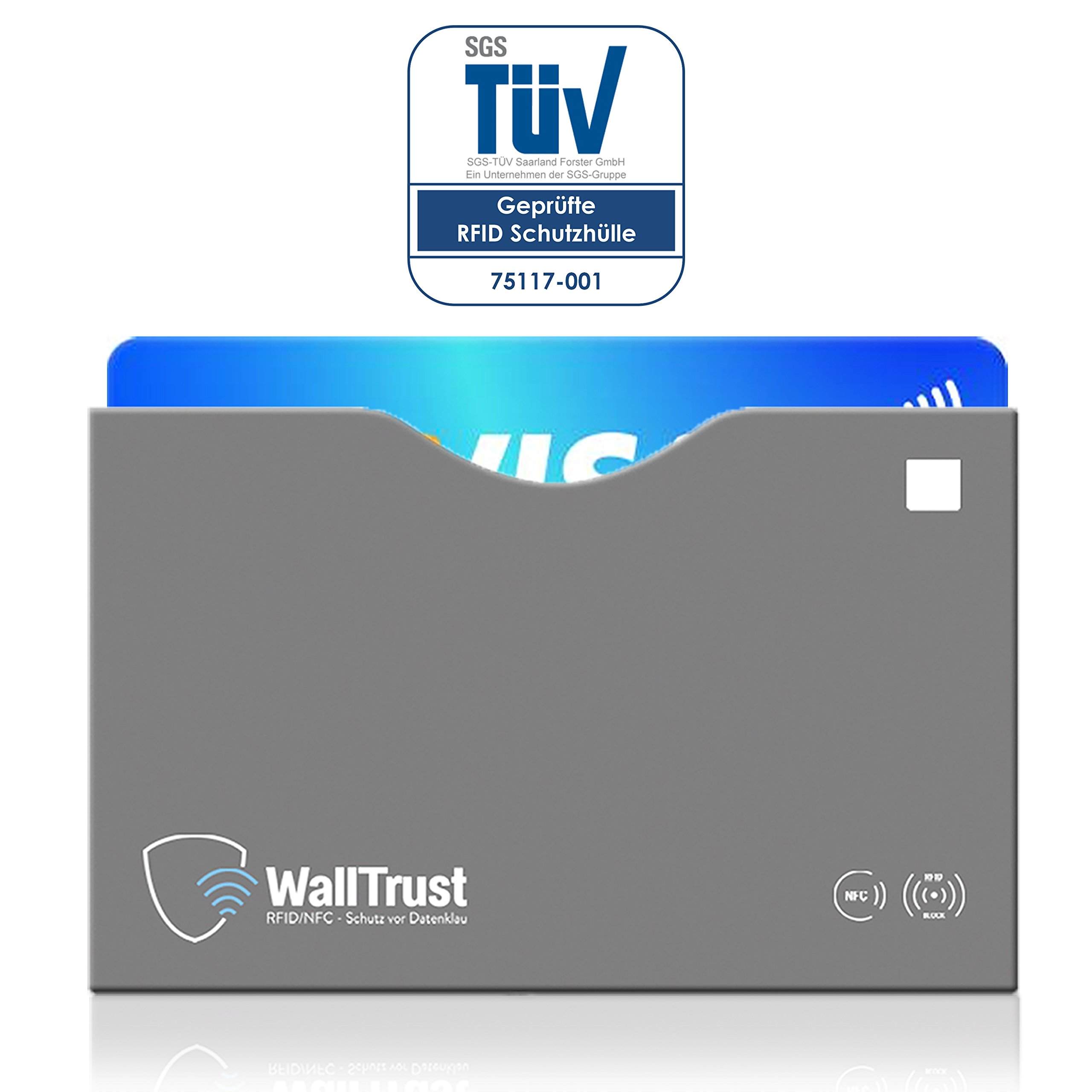 WallTrust® protectoras de RFID NFC   Protección * Aprobado TÜV Alemán *   10 Fundas para Tarjeta de Crédito Débito Identificación   apertura superior