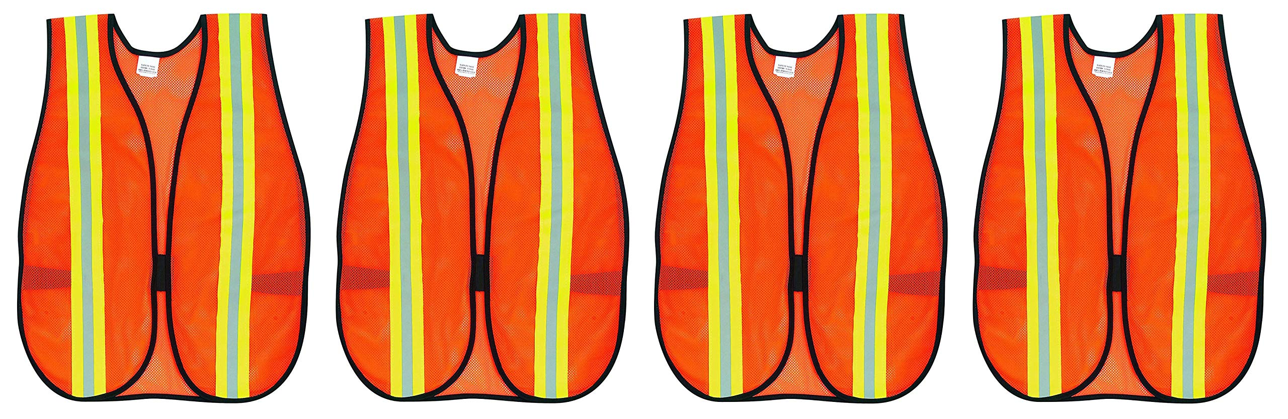 MCR Safety V201R Polyester Mesh General Purpose Safety Vest with 2-Inch Lime/Silver Reflective Stripe, Fluorescent Orange (4-(Pack))