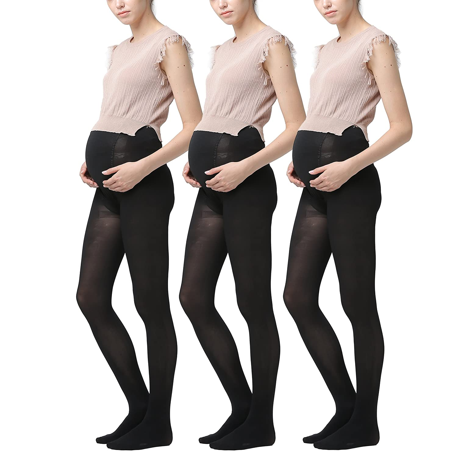 Women's Pregnant Maternity Pantyhose 3Pack Anti-pilling Opaque Tights 200 Denier BNS7027Nx1