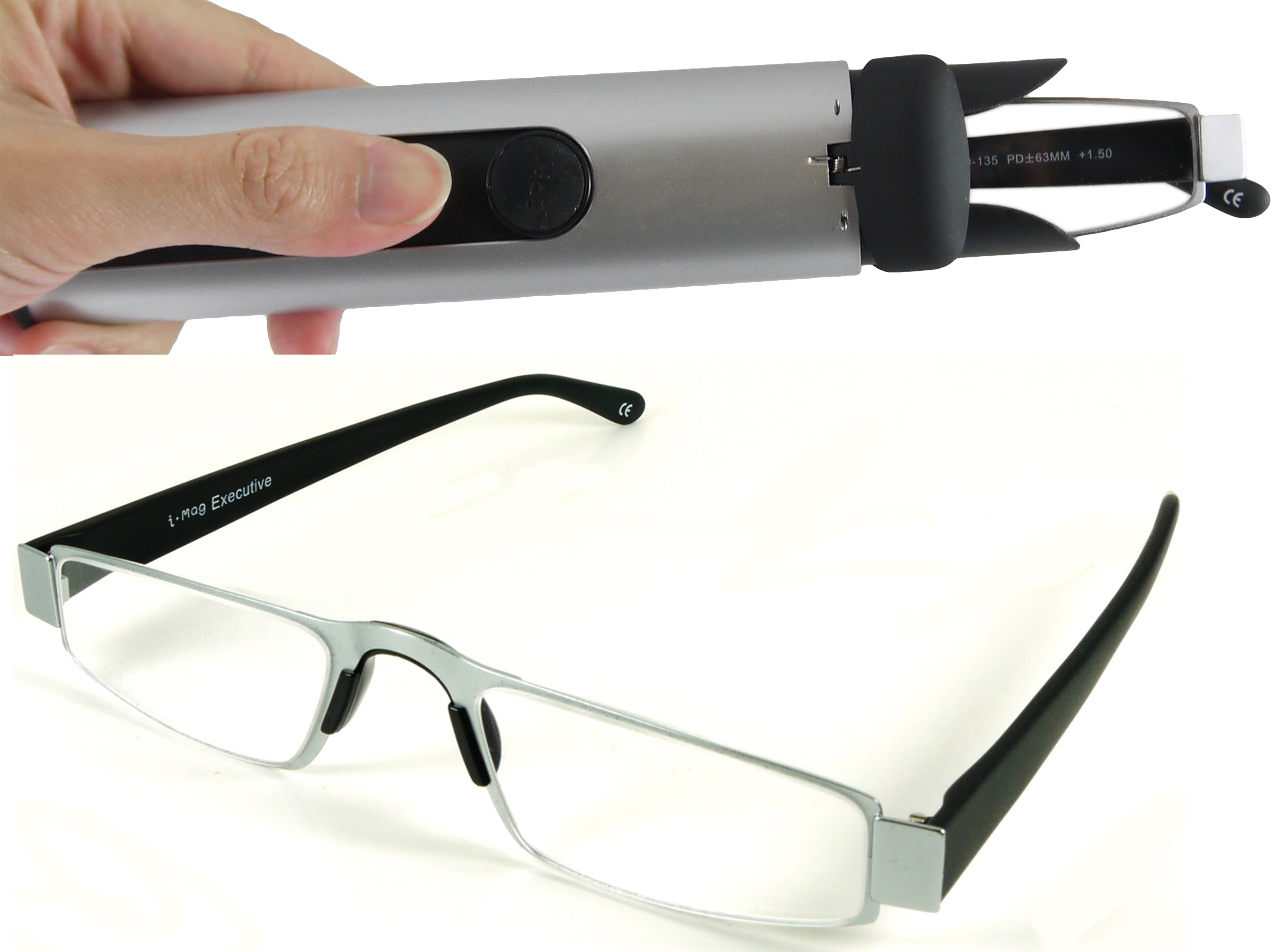 I-Mag Executive Slim Metal Reading Glasses with Slide Open Hard Case (+3.00, Silver)