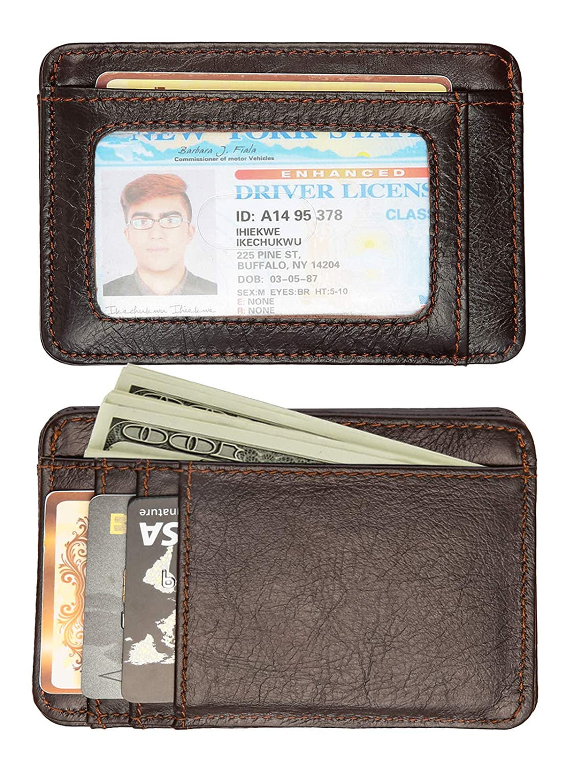 Euro Mond Genuine Cow Hide Leather Wallet with ID Window, Minimalist Secure Slim Thin Credit Card Holder for Men Women front back pocket KB02-BN