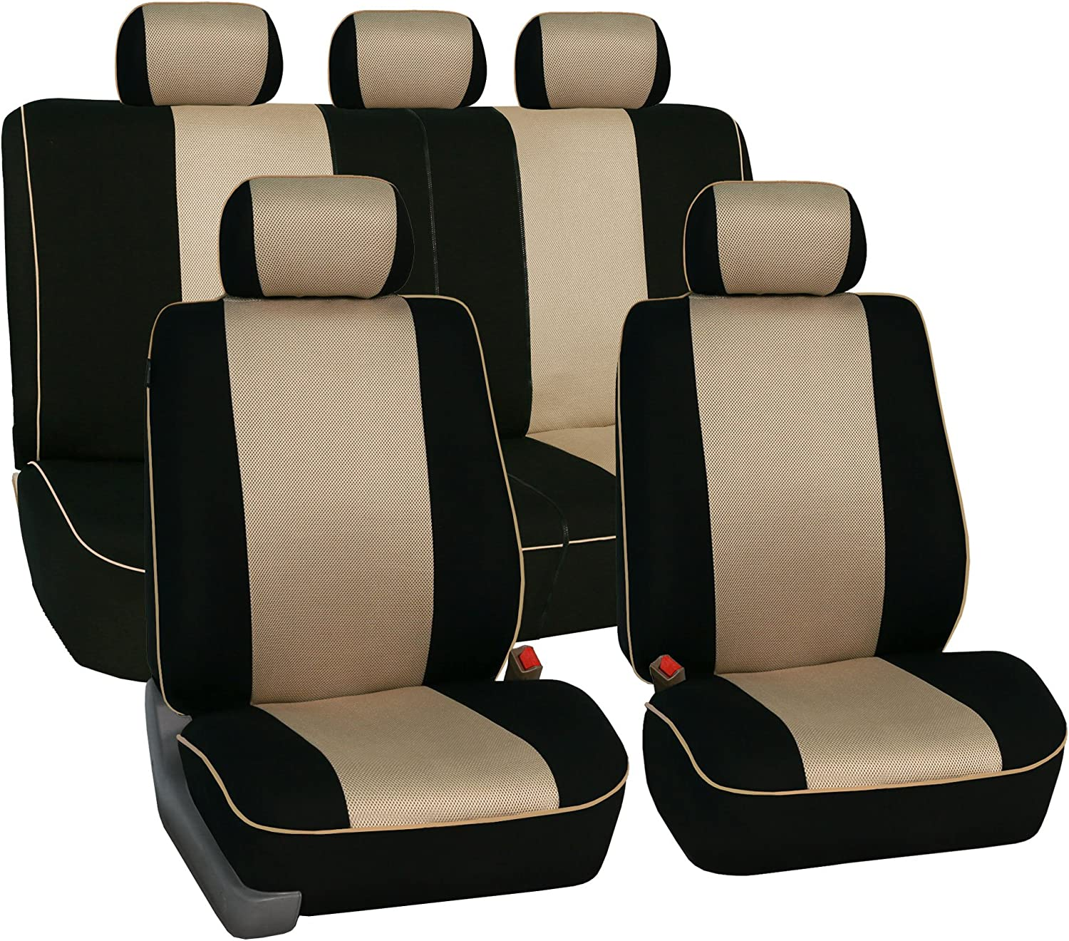 DOUBLE FORD TRANSIT CUSTOM 2019 DELUXE RED PIPING VAN SEAT COVERS SINGLE