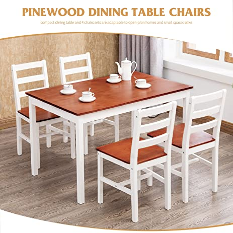 Amazon.com - 4 Family 5 Piece Dining Table Set 4 Wood Chairs Kitchen ...