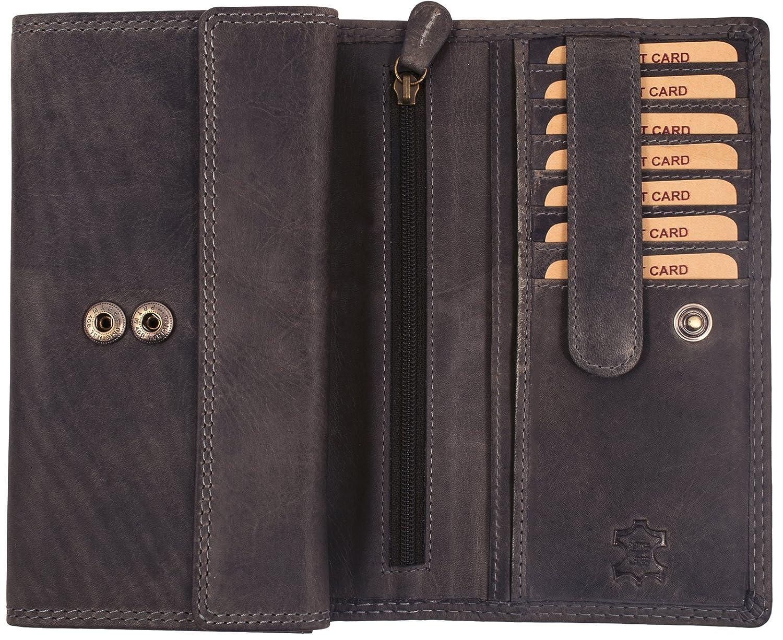 Hill Burry Echt-Leder Damen Geldbörse | hochwertiges Vintage Leder Geldbeutel - XXL weiches Portemonnaie / Portmonee (Blau -) BB197-0
