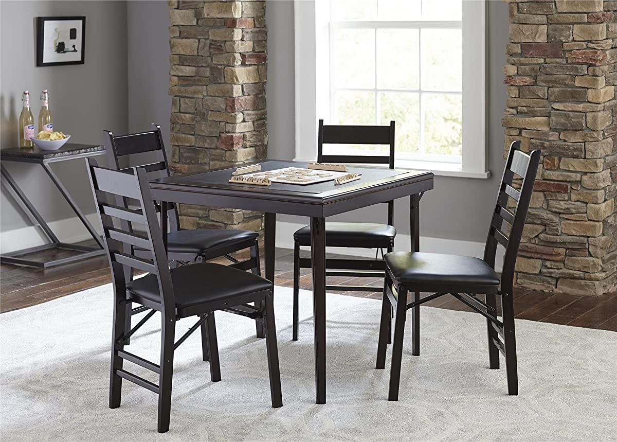Cosco 2-Pack Wood Folding Chair with Vinyl Seat and Ladder Back, Espresso