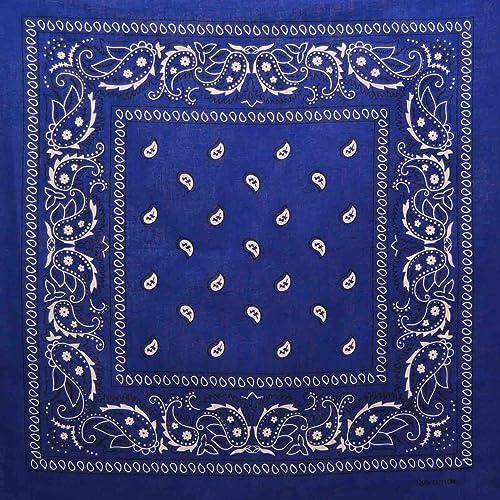 Royal Blue Cotton Bandana Scarf Square Black White Paisley