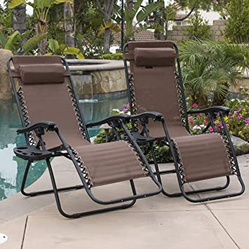 belleze 2pack zero gravity chairs recliner lounge patio chairs folding cup holder tray brown - Folding Patio Chairs
