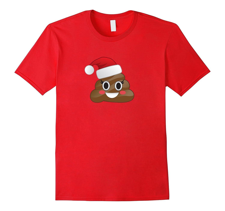 Funny Emoji Poop Santa Hat Girl Poo Winter Christmas T-Shirt-CD