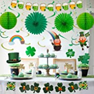 YIHONG St. Patrick's Day Decorations Set, 22 Pieces Hanging Swirls with Lucky Irish Green Shamrock, Leprechauns, Sant Patrick
