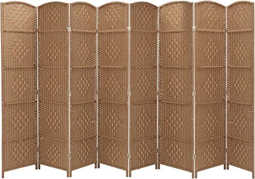 RHF 6 Ft. Tall Extra Wide-Diamond Weave Fiber Room Divider, 8 Panel Room Divider Screen,Room Dividers And Folding Privacy Screens 8 Panel Room Dividers And Folding Privacy Screens-Natural, 8 Panel