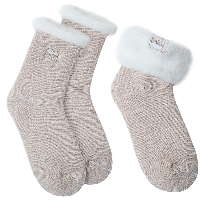 JARSEEN 2 Pares Calcetines de Lana Térmicos de Invierno Bordado Lindo Super Calor Gruesa Calentar Suave Cómodo Calcetines de Mujer (2 Caqui, ...