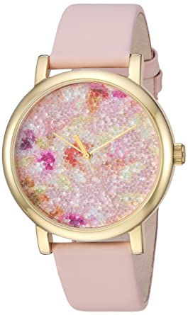 35541f34e3c Timex Women s TW2R66300 Crystal Bloom Pink Gold Floral Leather Strap Watch