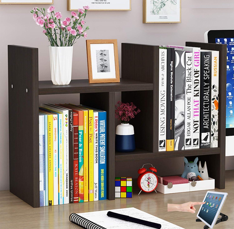Office Desktop Bookshelf Adjustable Wood Display Shelf Desktop Organizer Office Storage Rack Countertop Bookcase Office Supplies Desk Organizer Accessories(H w Stand, Espresso Color Instead of Black)