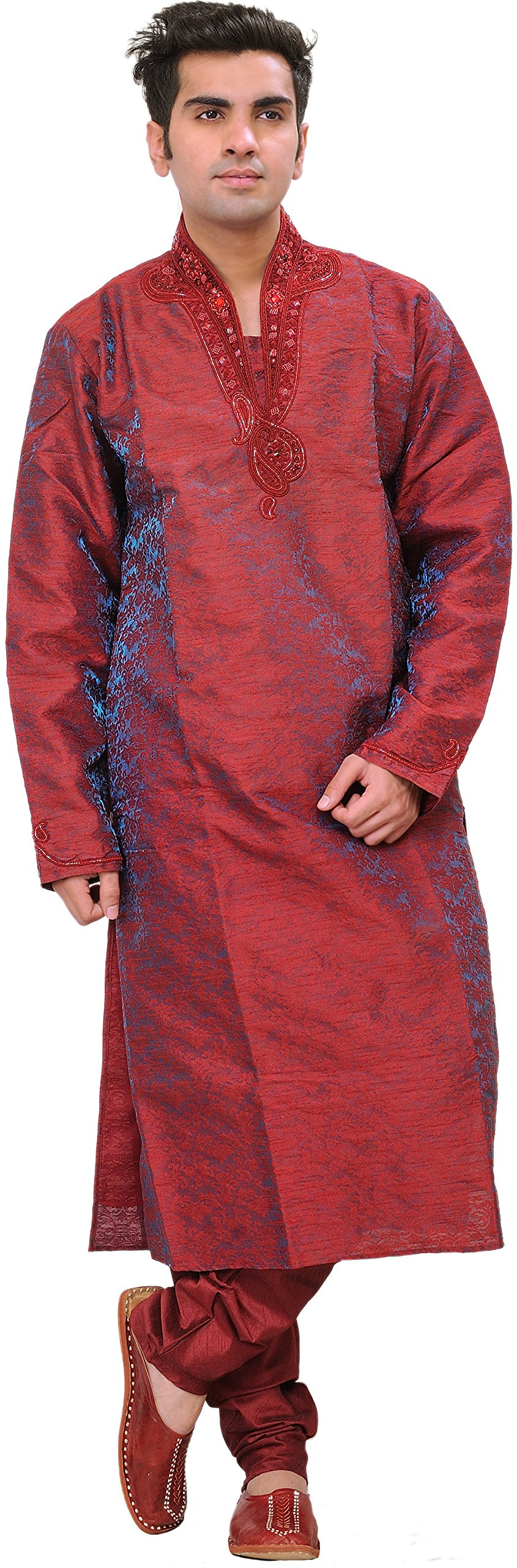 Exotic India Garnet Wedding Kurta Pajama Set With Embro - Red Size 40