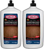 Weiman Wood Floor Polish and Restorer (2 Pack) 32 Ounce - High-Traffic Hardwood Floor, Natural Shine, Removes Scratches, Leaves Protective Layer
