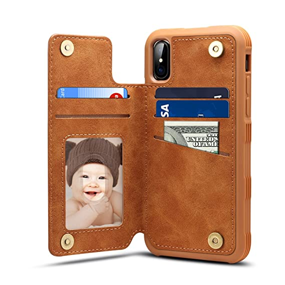new style 6cfbd cf3bc iPhone X Card Holder Case, iPhone X Wallet Case Slim, iPhone X Folio  Leather case Cover Shockproof Case with Credit Card Slot, Durable  Protective Case ...