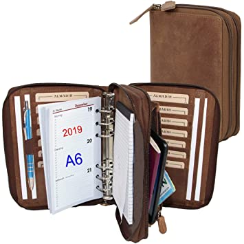 ALMADIH Carpeta de cuero A6 con cremallera + 2 ranuaras Calendario 2019 + Bloc notas agenda Personal Organizador Diario Cartera de conferencias ...