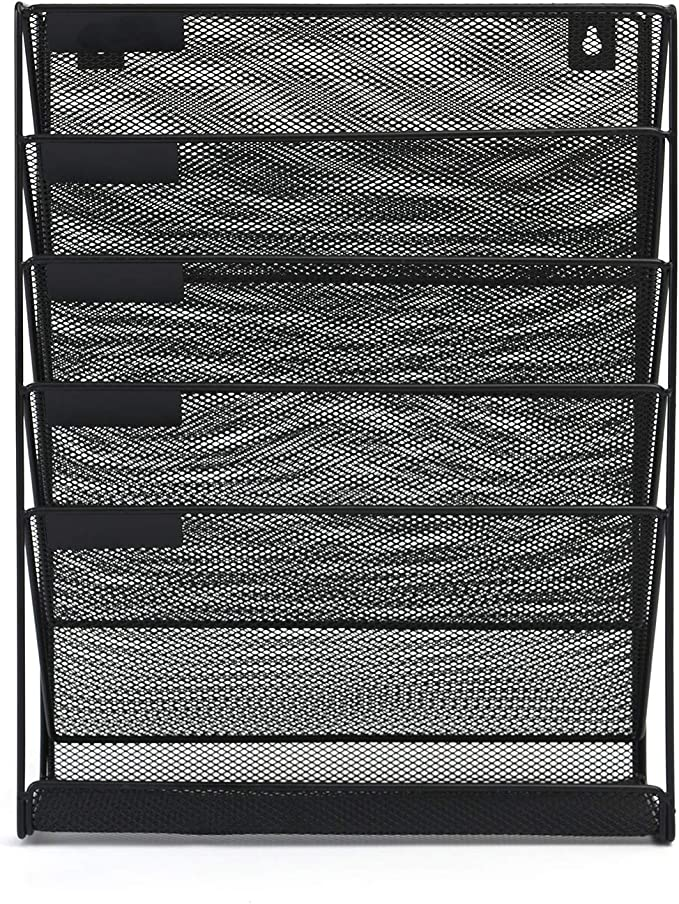 Can be Mounted On Wall for Space Saving ALAYSTAR Premium Wall Mounted 6 Tiers Magazine Journal Holder Rack-Hanging Letter Page File Newspaper Mesh
