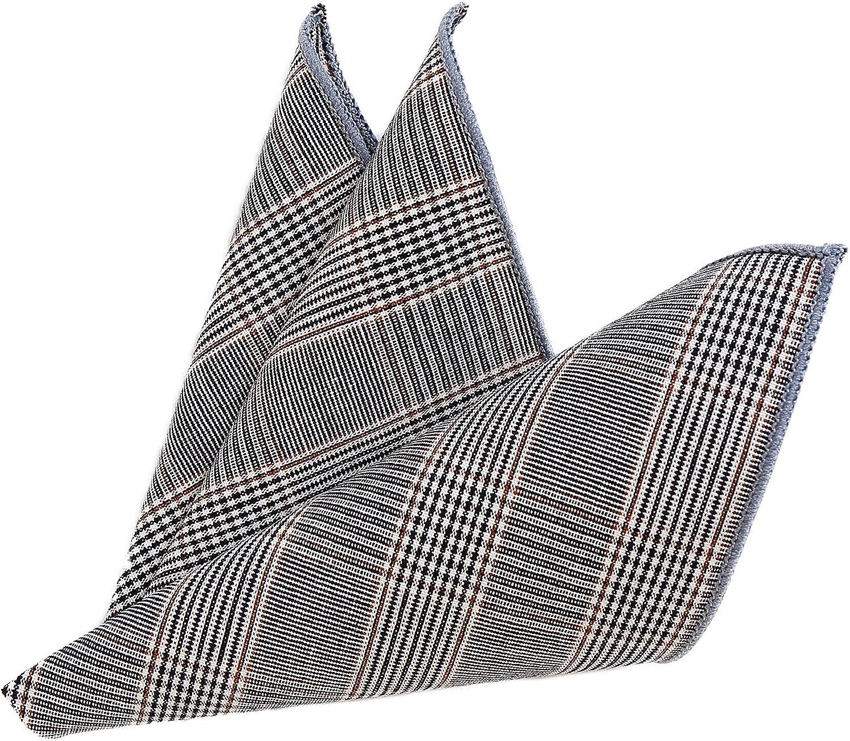 DonDon Pajarita para hombres de 12 x 6 cm con pa/ñuelo de bolsillo de color combinable de 23 x 23 cm ambos de algod/ón con look tweed a cuadros