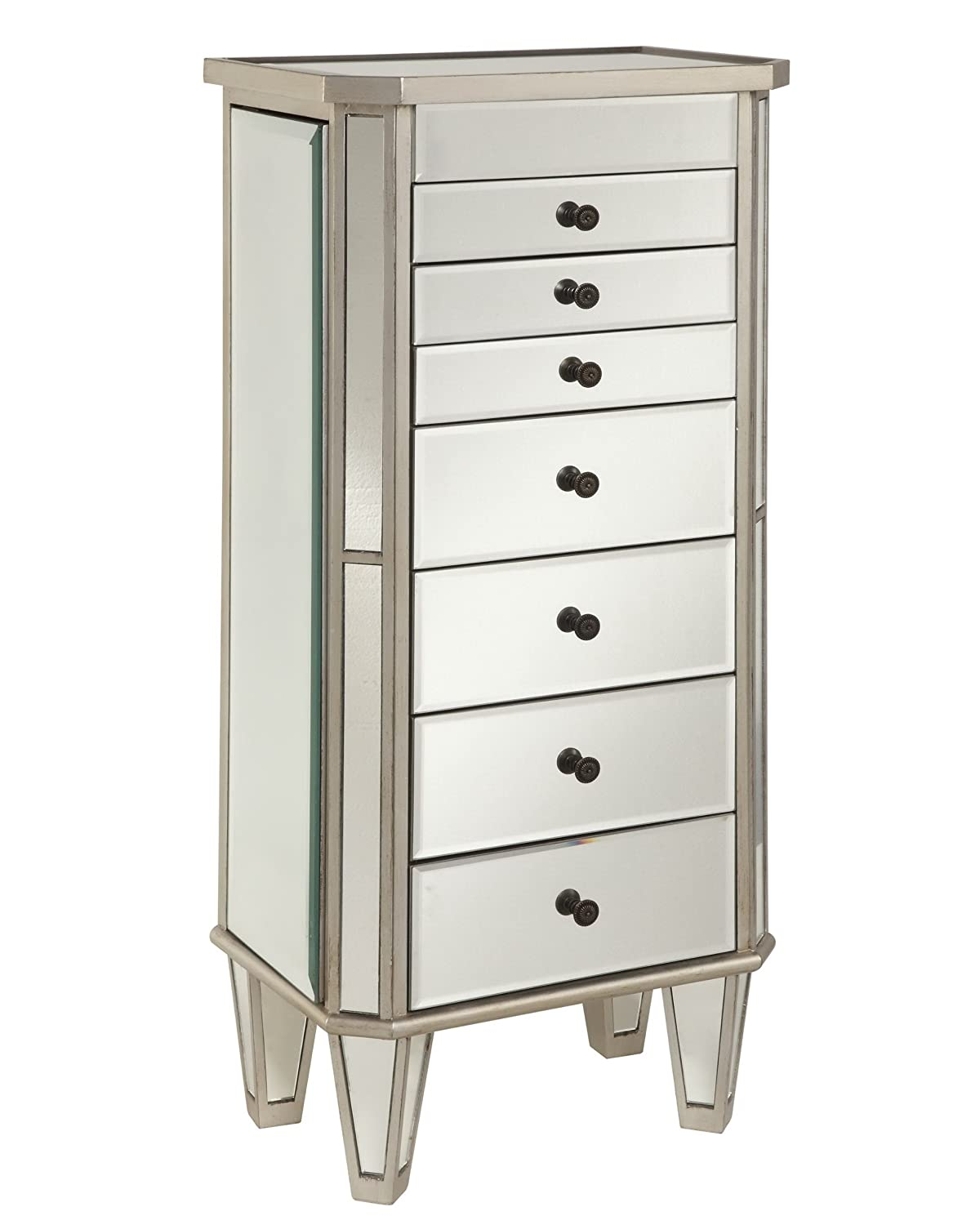 Amazon.com: Powell Mirrored Jewelry Armoire With Silver Wood: Kitchen U0026  Dining